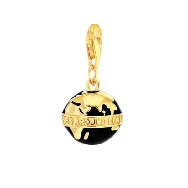 True Rocks Black Enamel & 18 Carat Gold Plated Globe Charm