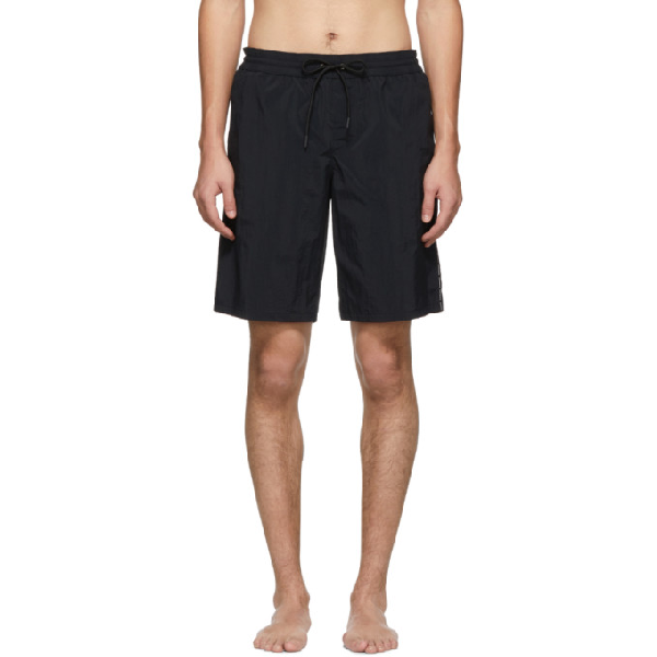 8061aee238 Versace Underwear Black Logo Tape Swim Shorts In A008 Nero | ModeSens