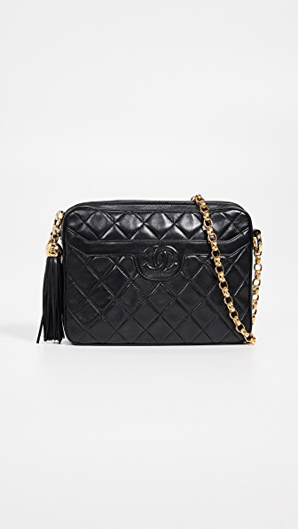 64b4c23bba81 What Goes Around Comes Around Chanel Lambskin Pocket Camera Bag In Black