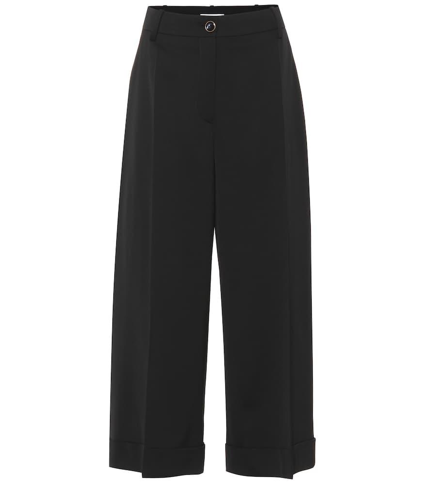 Valentino Wide-Leg Wool Pants In Black