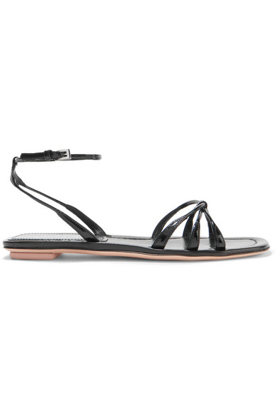Prada Knot-Front Patent-Leather Sandals In Black