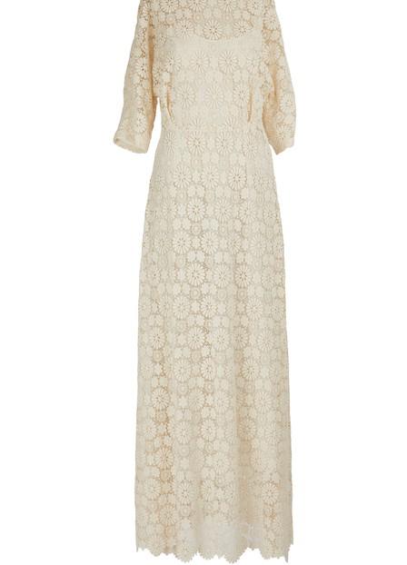 Mansur Gavriel Guipure Maxi Dress In White