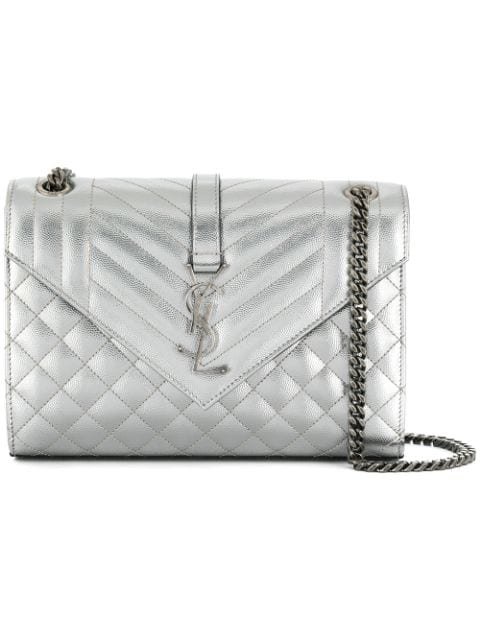 6893ff55 SAINT LAURENT MEDIUM ENVELOPE MONOGRAMME BAG IN SILVER