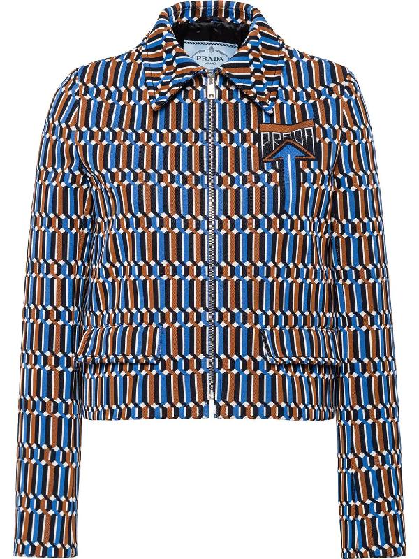 3ce9cbfdd6 Prada Zip-Up Jacquard Jacket In Blue