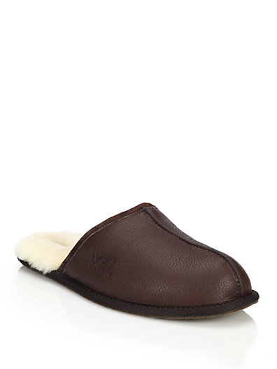 43f616b03df Scuff Leather Slippers in Brown