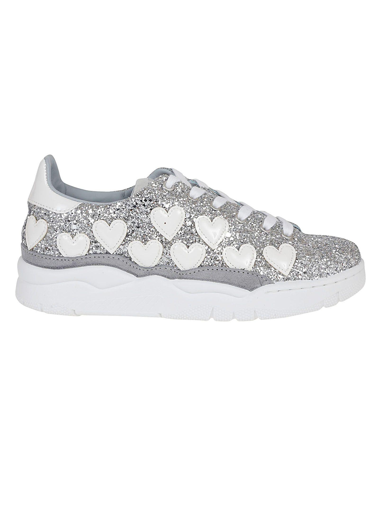Chiara Ferragni Hearts Glitter Sneakers In Silver