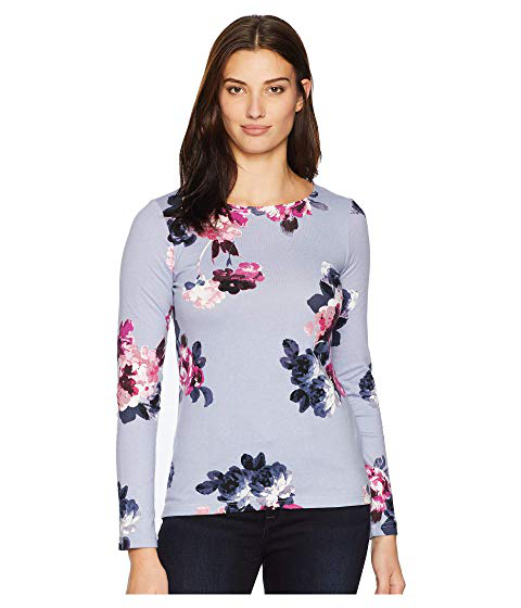 Dusk Grey: Joules Harbour Printed Jersey Top, Dusk Grey Winter Floral