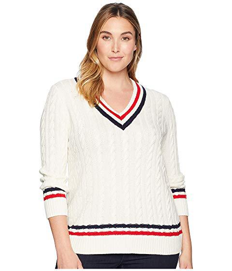 6c0d7be249db Lauren Ralph Lauren Plus Size Cable-Knit Cricket Sweater, Mascarpone  Cream/Navy/