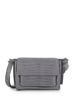 Nancy Gonzalez Crocodile Leather Shoulder Bag In Grey