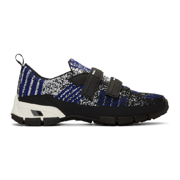 Prada Logo-embossed Rubber And Leather-trimmed Knit Sneakers In F0t5r Ne/in