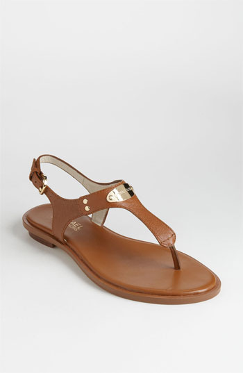 Michael Michael Kors Women's Mk Plate Thong Sandals In Luggage