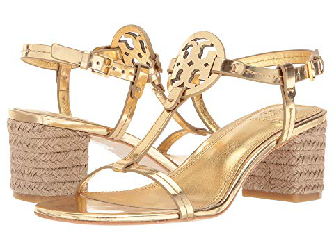a69ccacd1 Tory Burch Women s Miller Leather T-Strap Block Heel Sandals In Gold ...