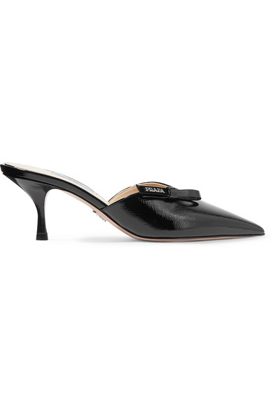 88c24ae8c Prada Bow-Embellished Textured-Leather Mules In Black