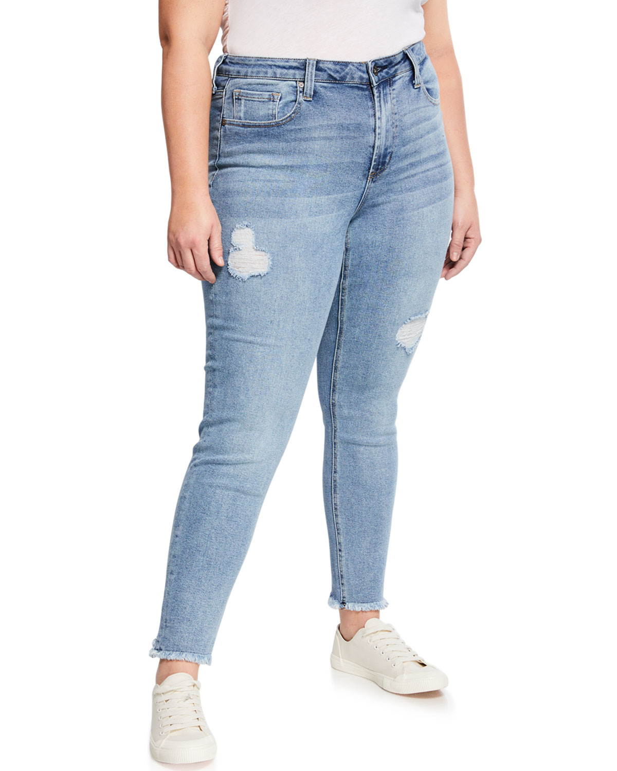 Gainesville Luxury Designer Home: Max Studio Plus High-Rise Distressed Ankle Skinny Jeans