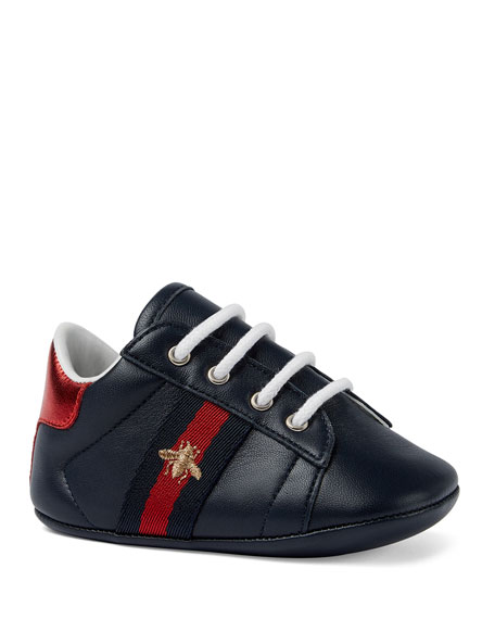 Gucci New Ace Bee Embroidery Web-Trim Leather Sneakers, Baby/Toddler In Blue