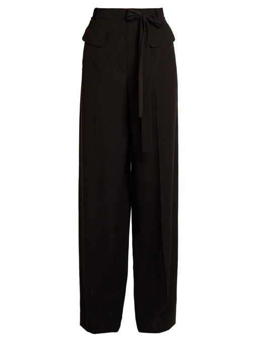 Valentino Wide Leg Pants With Virgin Wool And Silk In Black