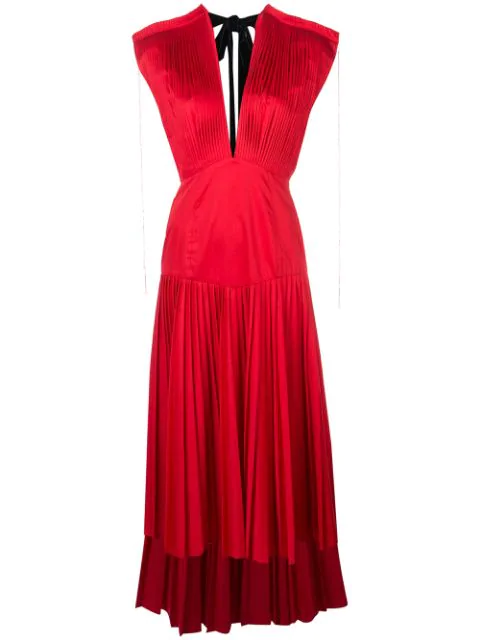 Khaite Theodora Pleated Cotton-Poplin Midi Dress In Currant
