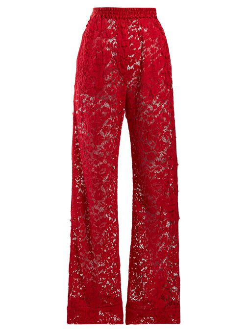 Dolce & Gabbana Flared Chantilly-Lace Trousers In Red
