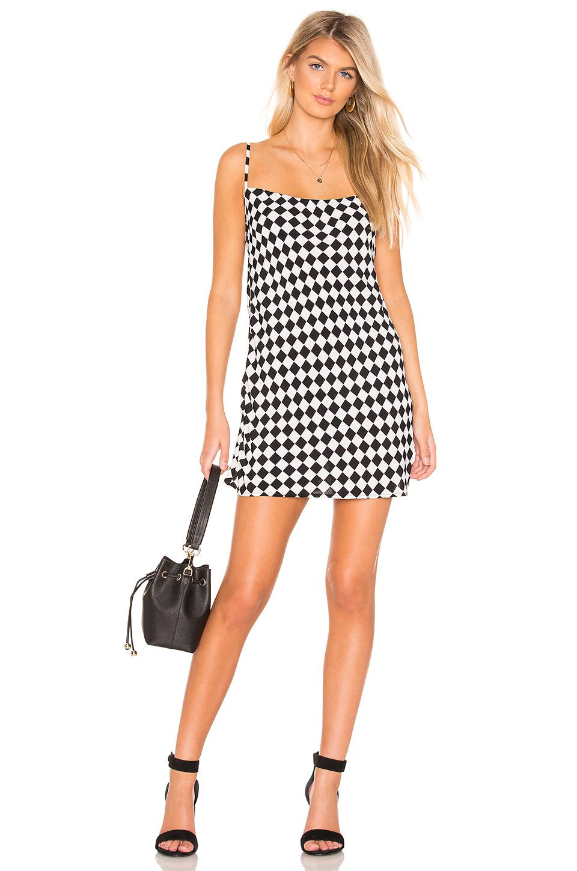 Flynn Skye Molly Mini Dress In Black. In Black & White Checkerboard