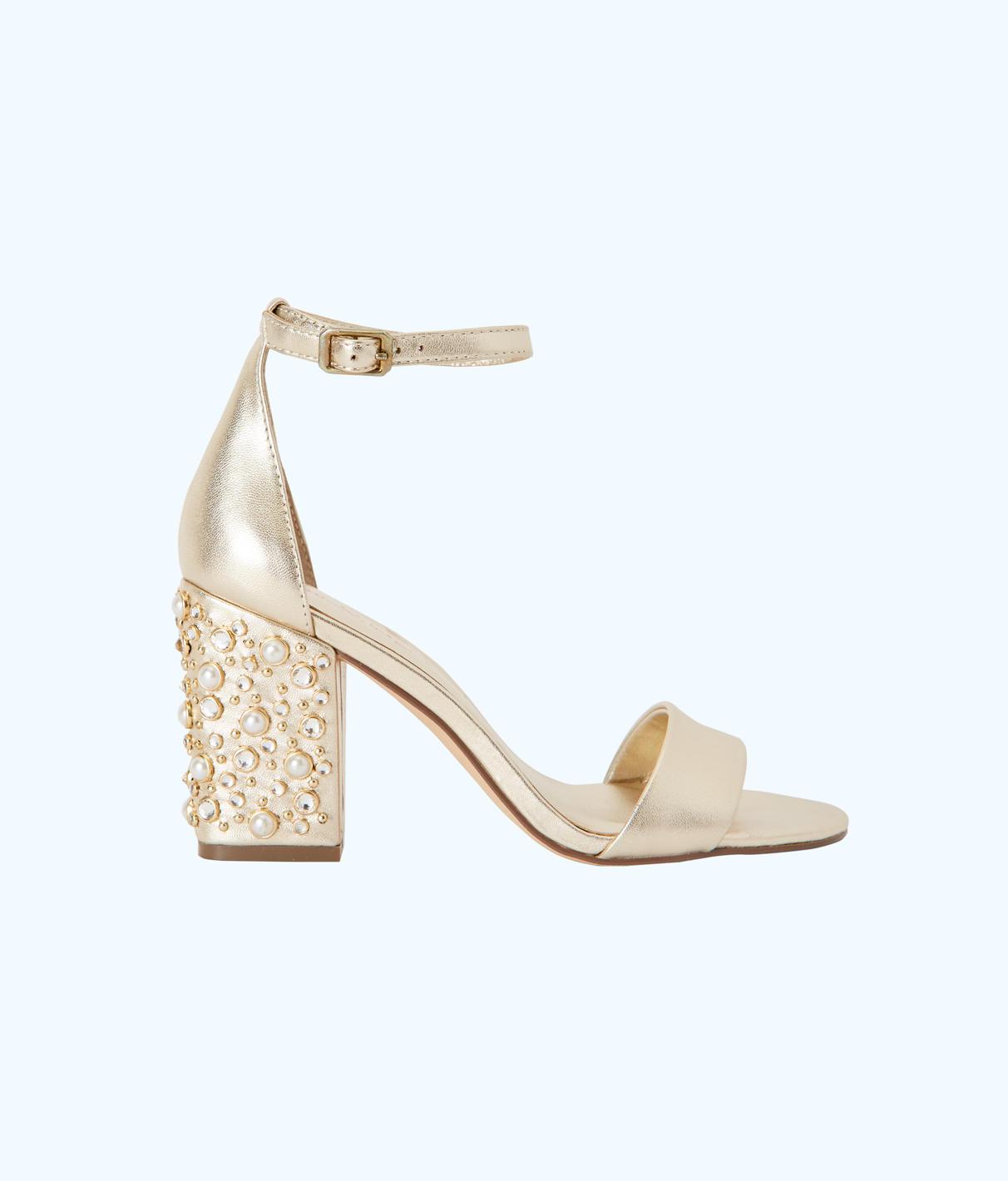 Lilly Pulitzer Amber Lynn Embellished Sandal In Gold Metallic