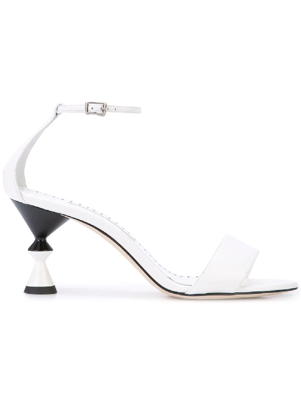 30673173f6c7 Manolo Blahnik Leda Leather Ankle-Wrap Sandals With Sculpted Heel In White