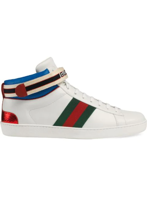 Gucci Stripe Ace High-Top Sneaker In White Leather.