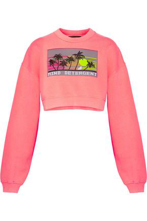 Alexander Wang Woman Cropped Intarsia Knit-Paneled French Cotton-Terry Sweatshirt Bubblegum