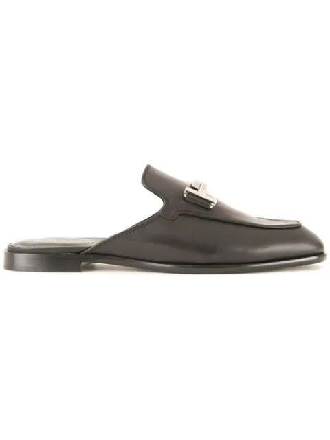 Tod's Cuoio T-bar Leather Backless Loafers In Black