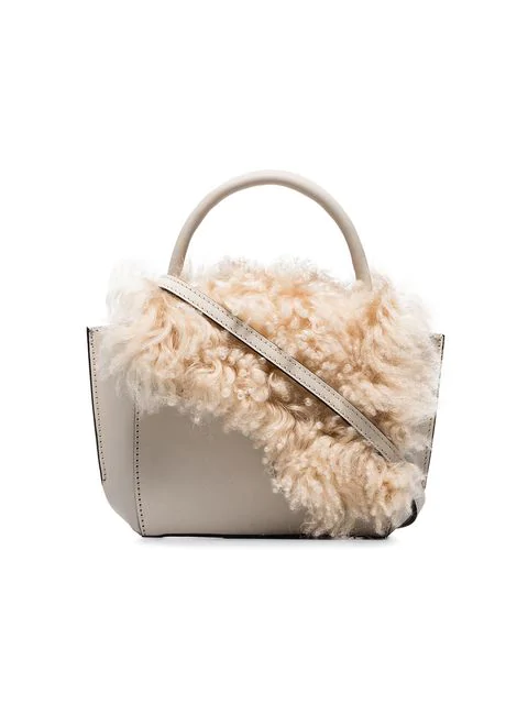Atp Atelier White Montalcino Shearling Embellished Leather Crossbody Bag