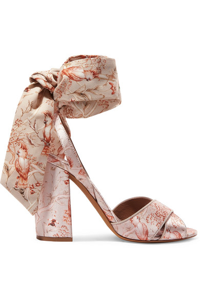 d8064f56768c Tabitha Simmons Johanna Ortiz Connie Printed Silk-Satin And Crepe De Chine  Sandals In Antique