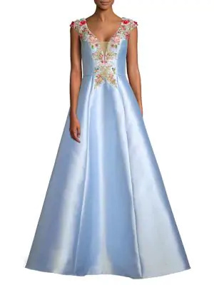 8cb50daf180 Basix Black Label Cap-Sleeve Embroidered A-Line Gown In Soft Blue ...