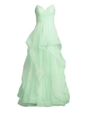 52b6c4d77776 Basix Black Label Sweetheart Cascade Gown In Soft Green | ModeSens