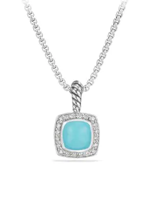 David Yurman Petite Albion Pendant Necklace With Diamonds In Turquoise