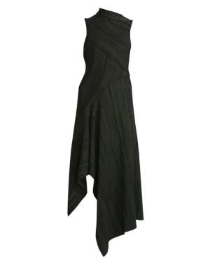 Victoria Beckham High Neck Asymmetric Dress In Green