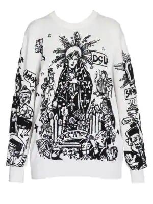 Dolce & Gabbana Cartoon Intarsia Knit Wool Sweater In White Black