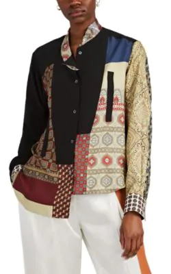 Loewe Scarf Patchwork Asymmetric Button-Down Blouse In Multi