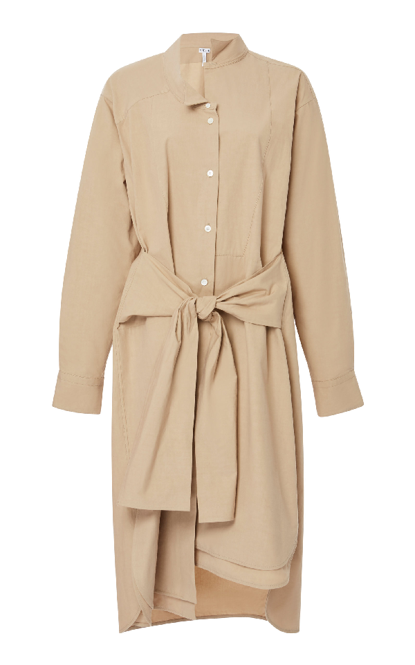 Loewe Tie-Waist Asymmetric Cotton-Blend Shirtdress In Neutral