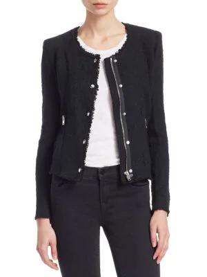 Iro Agnette Cotton Tweed Jacket In Black