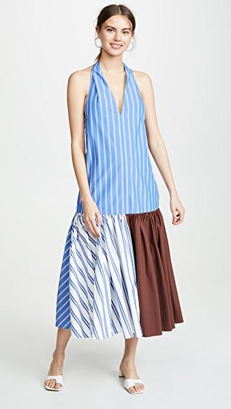 Tibi Vivian Striped Halterneck Midi Dress In White/blue Stripe Multi