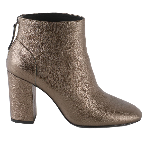 Ash Joy Metallic Leather Ankle Boots In Stone