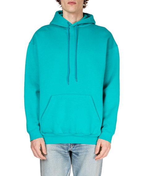 Balenciaga Oversized Logo-Print Fleece-Back Cotton-Blend Jersey Hoodie In Blue