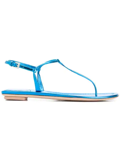 Prada Metallic Leather Thong Sandals In Blue