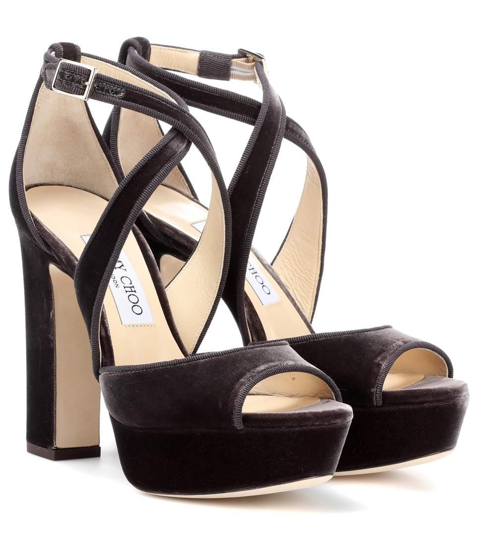 a78fb55c650 Jimmy Choo April 120 Grosgrain-Trimmed Velvet Platform Sandals In Dark Miek
