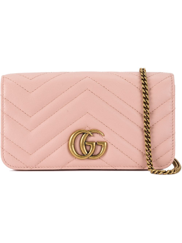 Gucci Gg Marmont Mini Quilted Leather Shoulder Bag In Pink
