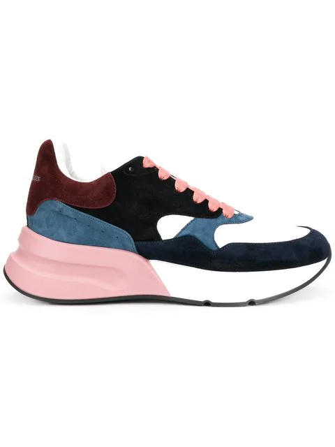 Alexander Mcqueen Exaggerated-Sole Suede And Mesh Sneakers In 8489 Multi