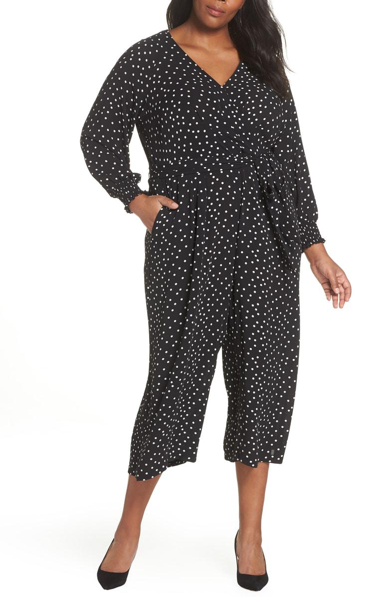 fa565fffdc1e6 Eliza J Faux Wrap Crop Jumpsuit In Black