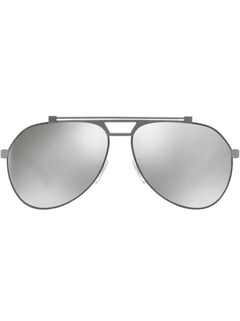 Dolce & Gabbana Mirrored Aviators In Metallic