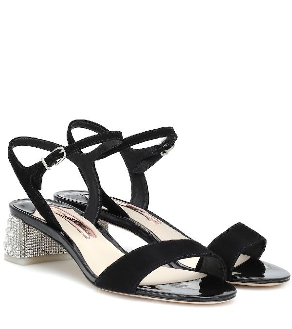 Sophia Webster Amber Embellished Suede Sandals In Black