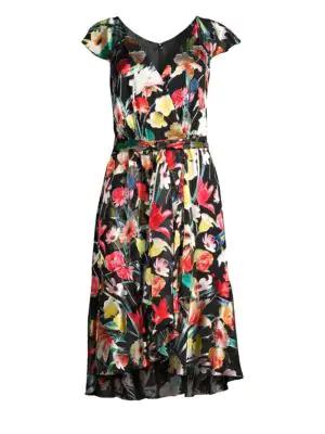 2fb1f30e7b64 Elie Tahari Ryder Floral-Print V-Neck Cap-Sleeve Dress In Black Pattern