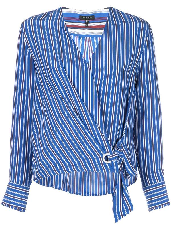 Rag & Bone Felix Striped Silk Tie-Front Popover Top In Blue